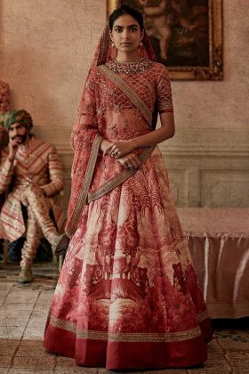 Chennai Silk Traditional Lehenga Choli Red Color In Stone Work