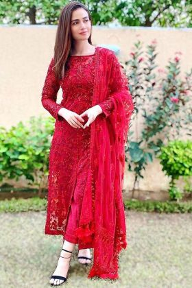 Cherry Red Sequence Work Salwar Suit
