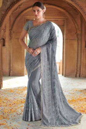 Chiffon Grey Festival Saree In Thread With Stone Work