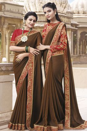 Chiffon Brown Wedding Saree