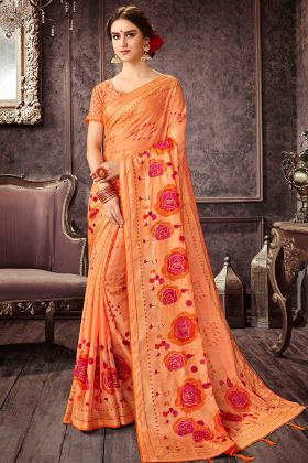 Chiffon Casual Saree In Printed Light Orange Color