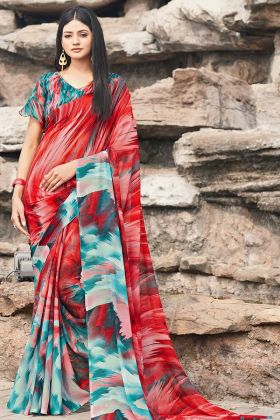 Chiffon Colorful Printed Saree In Red And Blue