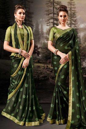 Chiffon Dark Green Fesive Saree
