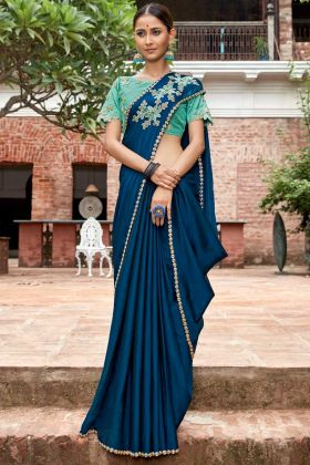 Chiffon Designer Saree Blue Color With Embroidery Work