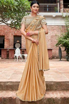 Chiffon Designer Saree Cream Color With Embroidery Work