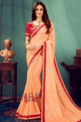 Chiffon Designer Saree Light Orange Color With Printed Work