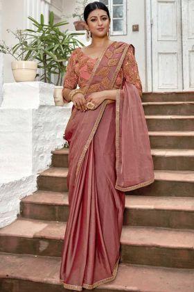 Chiffon Festival Saree Embroidery Work In Peach Color