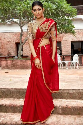 Chiffon Festival Saree Embroidery Work Red Color For Diwali