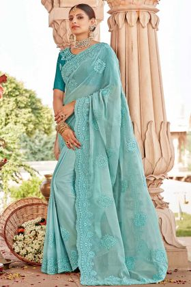 Chiffon Light Blue Wedding Saree In Resham Embroidered Work