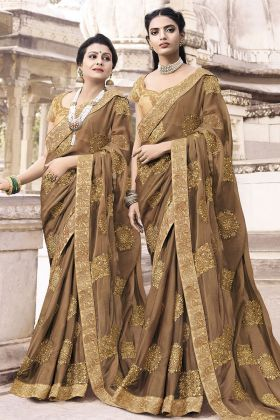 Chiffon Light Brown Wedding Saree Online
