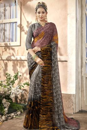Chiffon Multi Color Printed Saree Online