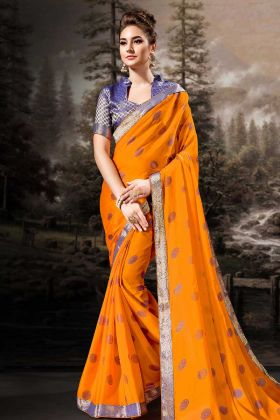 Chiffon Orange Festive Saree Online