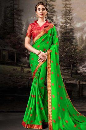 Chiffon Parrot Green Festive Saree