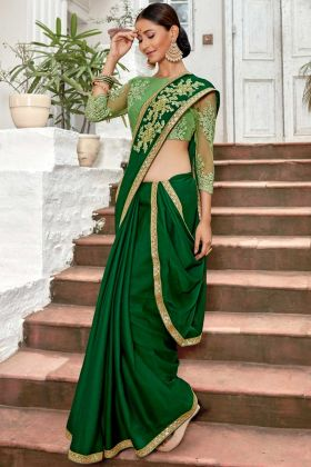 Chiffon Party Wear Saree Green Color With Embroidery Work