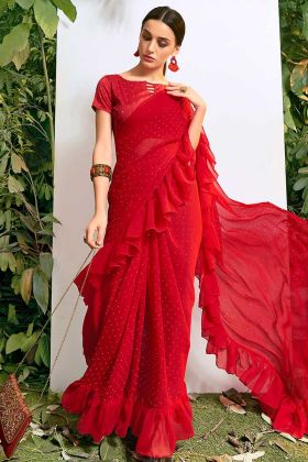 Chiffon Red Color Designer Frill Saree With Stone