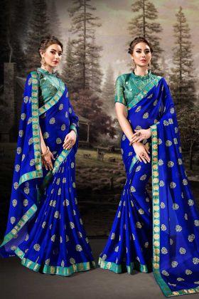Chiffon Royal Blue Fancy Saree Online