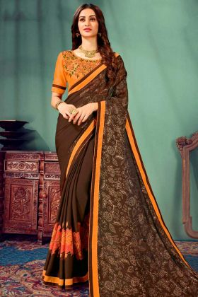 Chiffon Saree Jari Embroidery Work In Brown Color