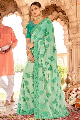 Chiffon Sea Green Wedding Saree In Resham Embroidered Work
