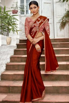 Chiffon Wedding Saree Embroidery Work In Red Color