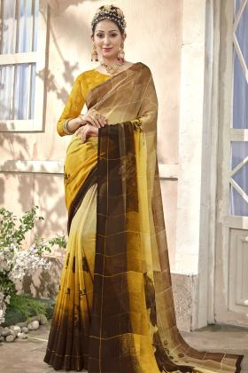 Chiffon Yellow Printed Saree Online