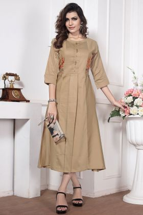 Chiku Color Silk Cotton Kurti With Embroidery Work