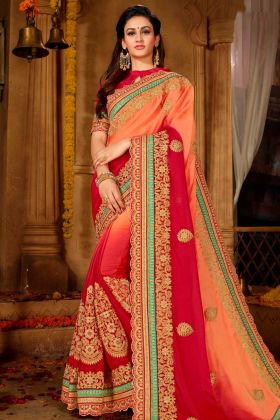 Chinon Half and Half Wedding Saree Thread Embroidery Work In Dark Peach and Red Color