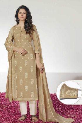 Churidar Material With Beige Cotton Block Prints