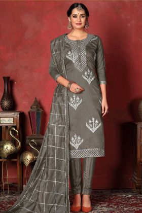 Churidar Salwar Suit Modal Cotton Grey Color