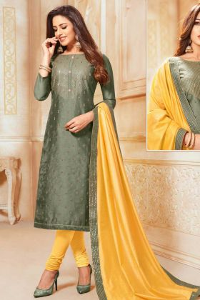 Churidar Salwar Suit In Soft Silk Olive Green