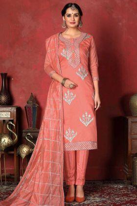 Churidar Dress Matreial In Modal Cotton Dark Peach Color