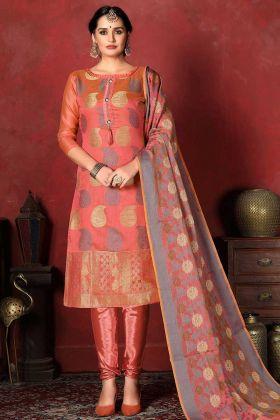 Churidar Salwar Kameez Dark Peach Banarasi Silk Fabric