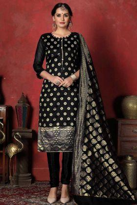 Churidar Salwar Suit Black Color Banarasi Silk Fabric