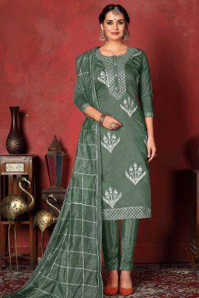 Churidar Suit Teal Green Color In Modal Cotton Fabric