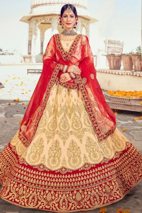 Classic Embroidered Designer Soft Silk Cream Color Heavy Bridal Lehenga