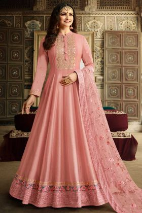 Classic Pink Color Soft Silk Anarkali Dress Designs