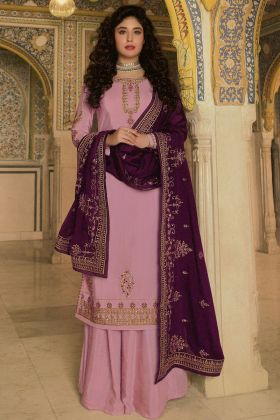 Classic Rangoli Georgette Designer Pink Heavy Salwar Dress