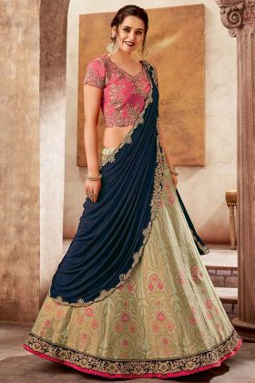 Classic Embroidery Weaved Silk Party Wear Lehenga Saree Green Color