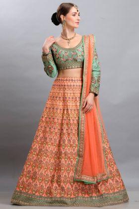 Classic Festival Barfi Silk Peach Wedding Lehenga Choli With Net Dupatta