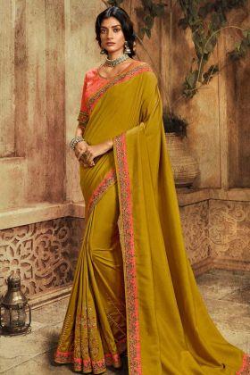 Classic Mustard Color Latest Designer Saree