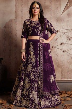 Classic Purple Color Designer Lehenga Choli With Velvet Silk