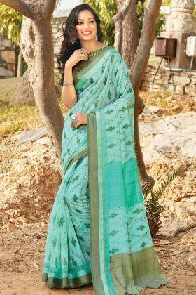 Classy Saree Look Aqua Blue Color Saree In Cotton Fabric