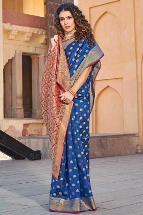 Classy Saree Look Pretty Handloom Silk Blue Saree