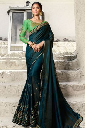 Cobalt Blue Barfi Silk Embroidey Saree