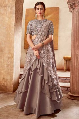 Cocktail Parties Designer Lehenga Satin Silk Brown Color