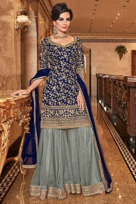 Coding And Stone Work Net Sharara Salwar Suit Navy Blue Color