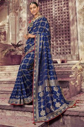 Coding Embroidery Navy Blue Color Festival Saree
