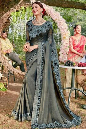 Coding Embroidery Work Grey Color Shimmer Georgette Saree