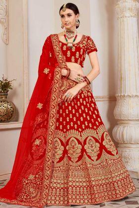 Coding Embroidery Work Velvet Designer Bridal Lehenga Choli In Red Color