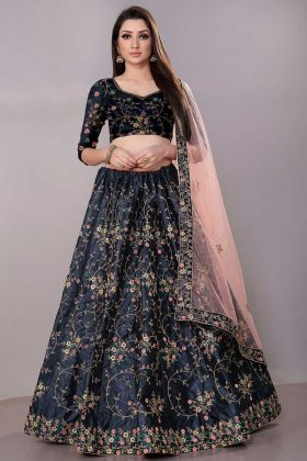 Coding Work Navy Blue Color Satin Silk Wedding Lehenga Choli With Net Dupatta