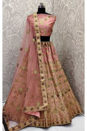 Coding Work Pink Color Satin Silk Designer Lehenga Choli